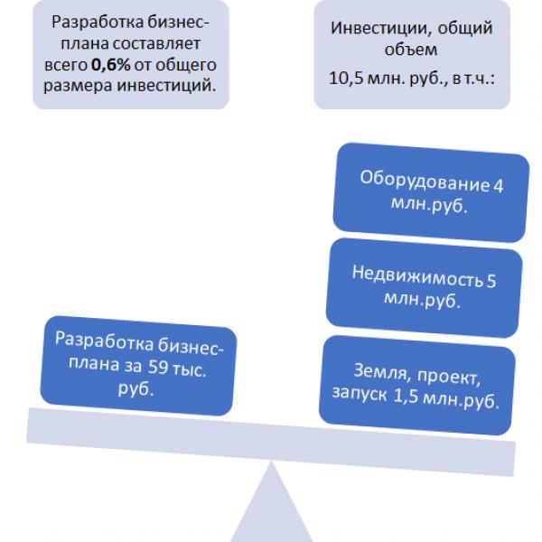 Сравнение стоимости разработки бизнес-плана и стоимости вложений в проект